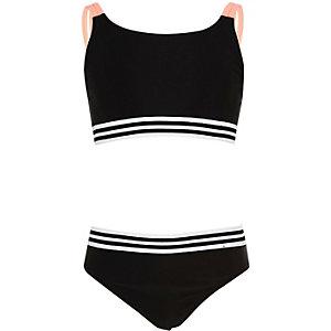 Girls black 90s sporty bikini
