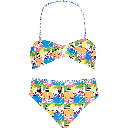 Girls blue crazy print bikini