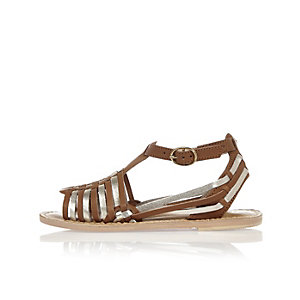 Girls gold woven leather sandals