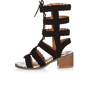 Girls black gladiator heeled sandals