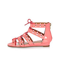 Girls coral studded mini wedges