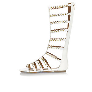 Girls white studded gladiator sandals