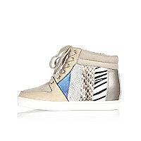 Beige Keilabsatz-Sneaker