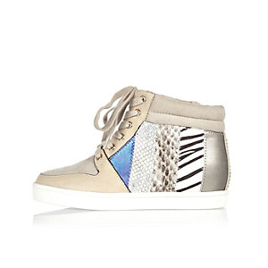 Girls beige multi-print wedge sneakers