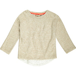 Mini girls cream slouchy top