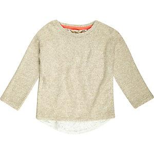 Mini girls cream slouchy top