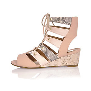 Girls pink print snake effect wedges
