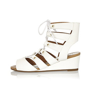 Girls white wedges