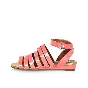 Girls coral multi strap sandals