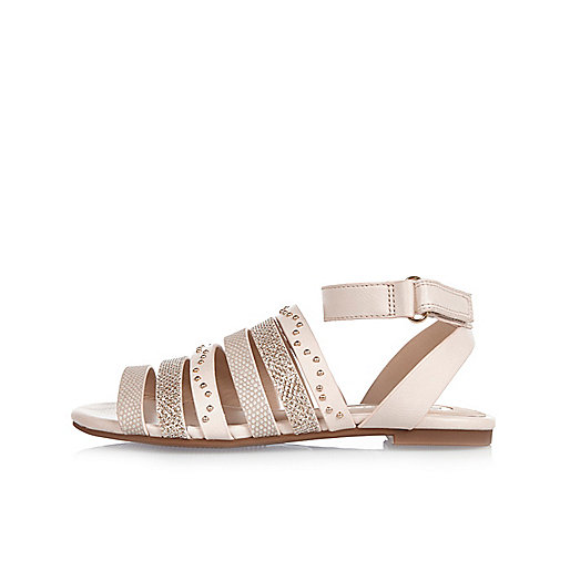 Girls light brown multi strap sandals