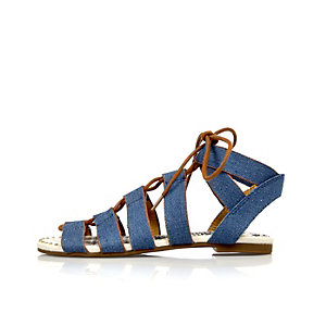Girls blue denim lace-up ghillie sandals