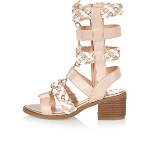 Girls light brown gladiator heeled sandals