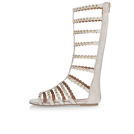 Girls grey studded gladiator sandals