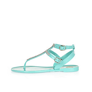 Girls turquoise diamanté jelly sandals