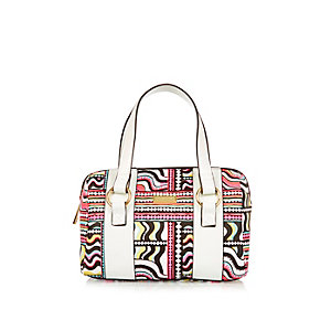 Girls white multicolored print bowler bag