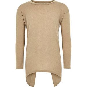 Girls beige knitted split back top
