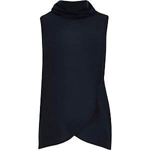 Girls navy wrap front sleeveless top