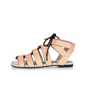 Girls pink lace-up sandals