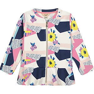Mini girls pink peplum hem jacket