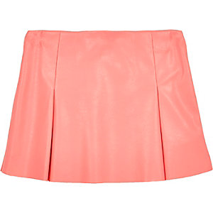 Mini girls pink leather-look skater skirt