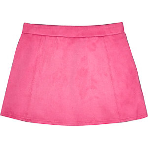 Mini girls pink faux suede skirt