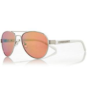 Girls silver tone pilot sunglasses