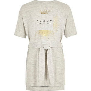 Girls beige metallic word print top