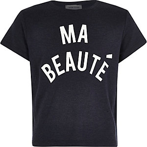 Girls navy French print t-shirt