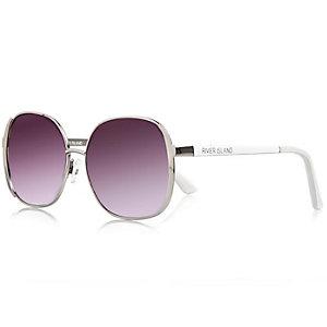 Girls white oversized glam sunglasses