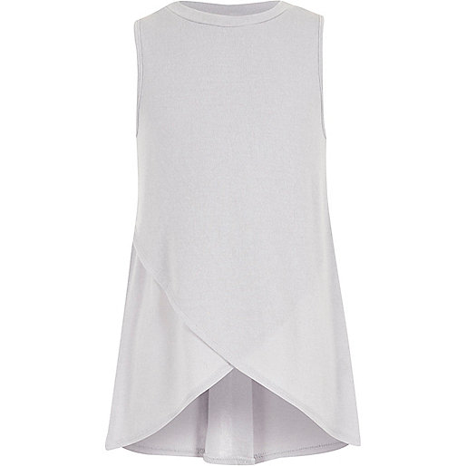 Girls grey cross-over tunic