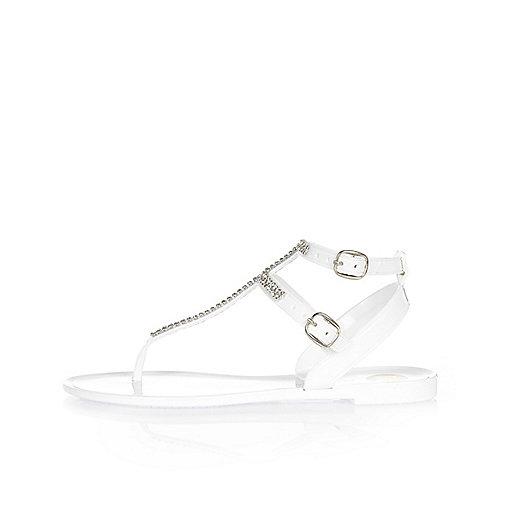 Girls white diamanté jelly sandals