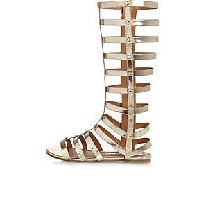 Girls gold gladiator sandals
