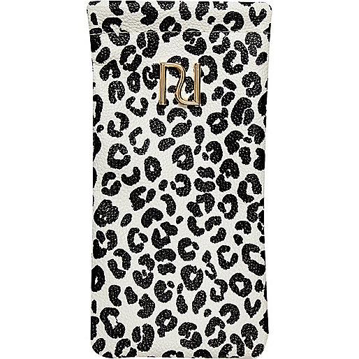 Girls black animal print sunglasses case