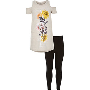 Girls beige floral t-shirt leggings outfit