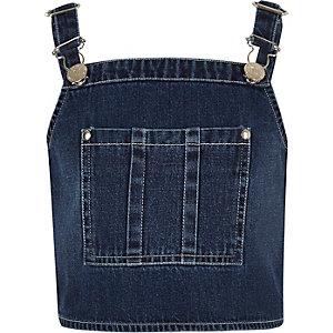 Girls dark blue wash overall crop top