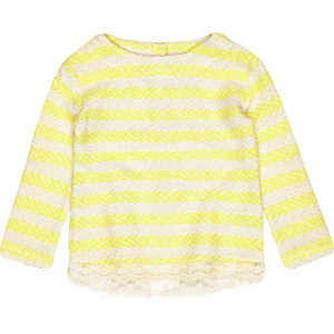 Mini girls yellow stripe top