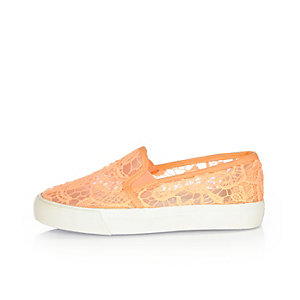 Girls coral lace plimsolls