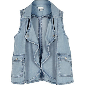 Mini girls sleeveless denim jacket