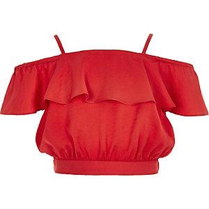 Girls red bardot ruffle crop top