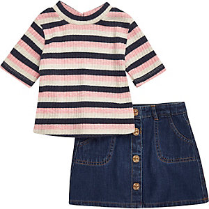 Mini girls pink top denim skirt outfit