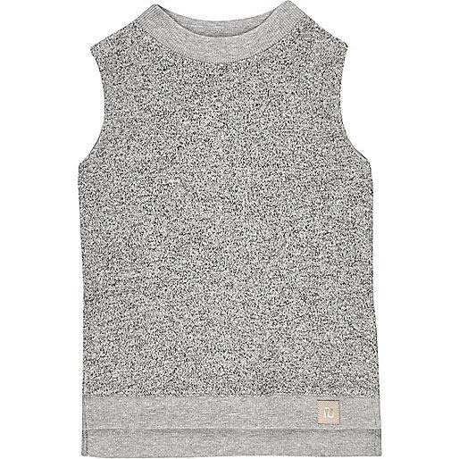 Mini girls grey brushed high neck top