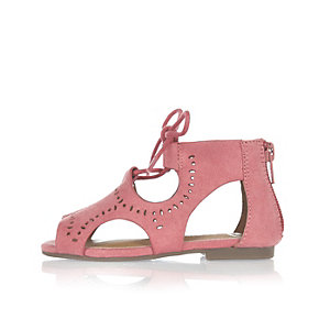 Mini girls coral cut-out sandals