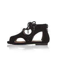 Mini girls black cut-out sandals
