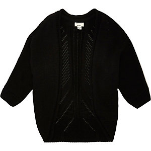 Mini girls black cocoon cardigan