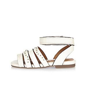 Mini girls white strappy sandals