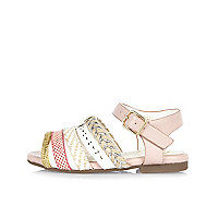 Sandales à brides motifs aztèques roses pour mini fille