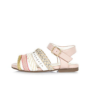 Mini girls pink Aztec strappy sandals