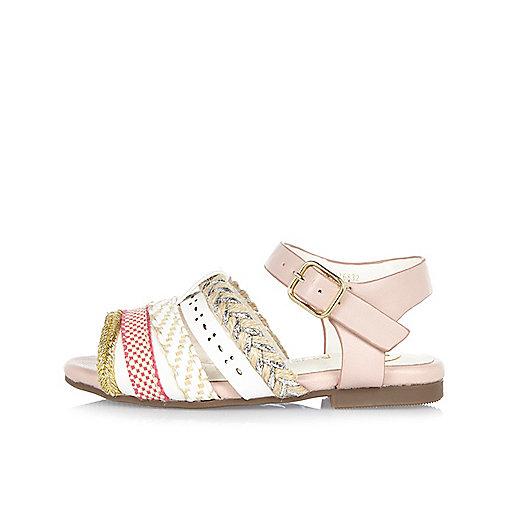 Mini girls pink Aztec strappy sandals