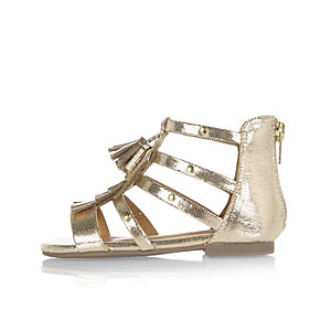 Mini girls gold gladiator sandals