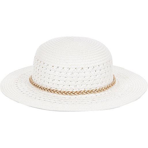 Mini girls white floppy hat
